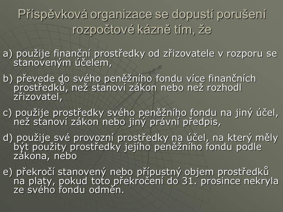 Příspěvková organizace se dopustí porušení rozpočtové kázně tím, že