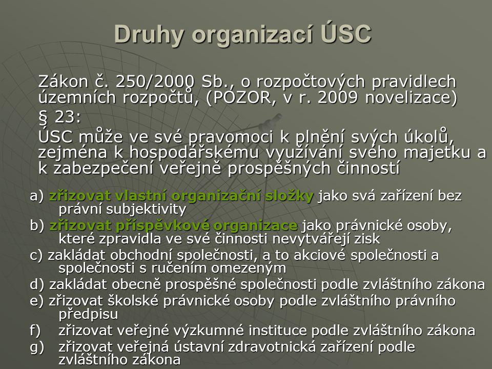 Druhy organizací ÚSC Zákon č. 250/2000 Sb., o rozpočtových pravidlech územních rozpočtů, (POZOR, v r. 2009 novelizace)