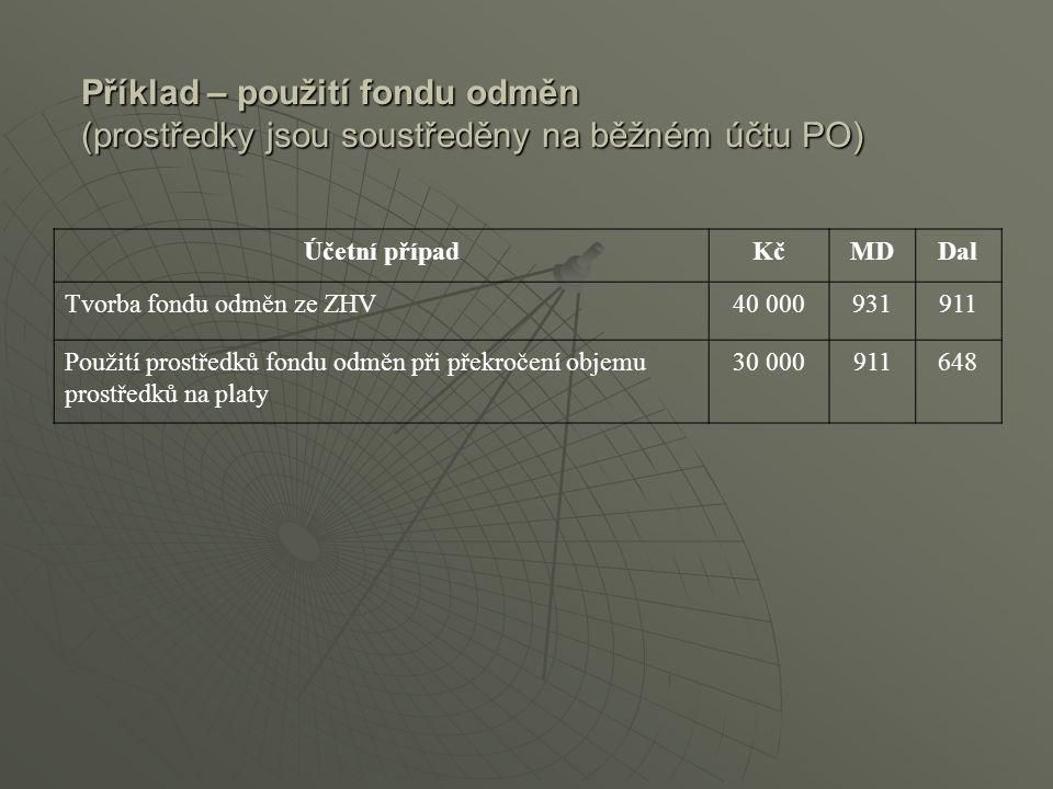 Příklad – použití fondu odměn (prostředky jsou soustředěny na běžném účtu PO)