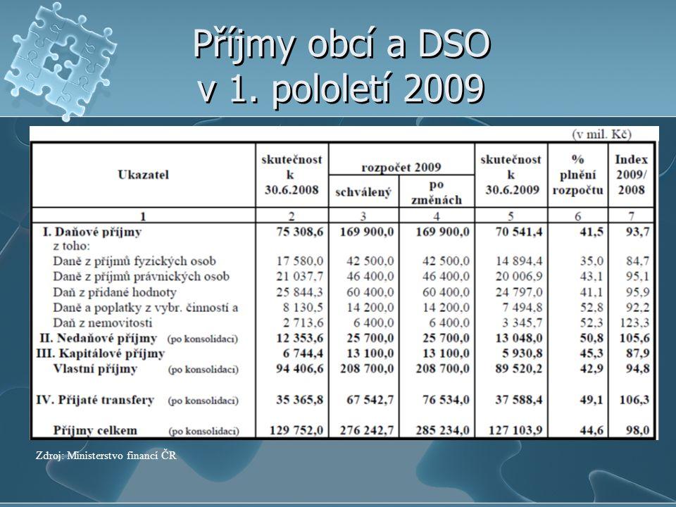 Příjmy obcí a DSO v 1. pololetí 2009