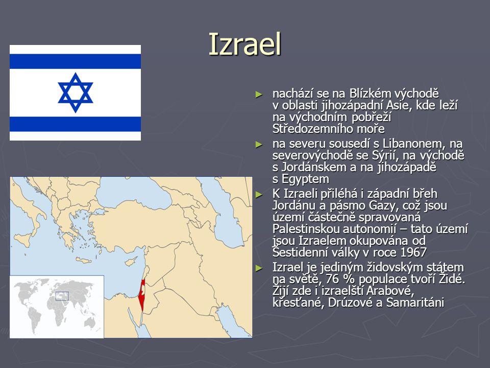 Izrael nachází se na Blízkém východě v oblasti jihozápadní Asie, kde leží na východním pobřeží Středozemního moře.