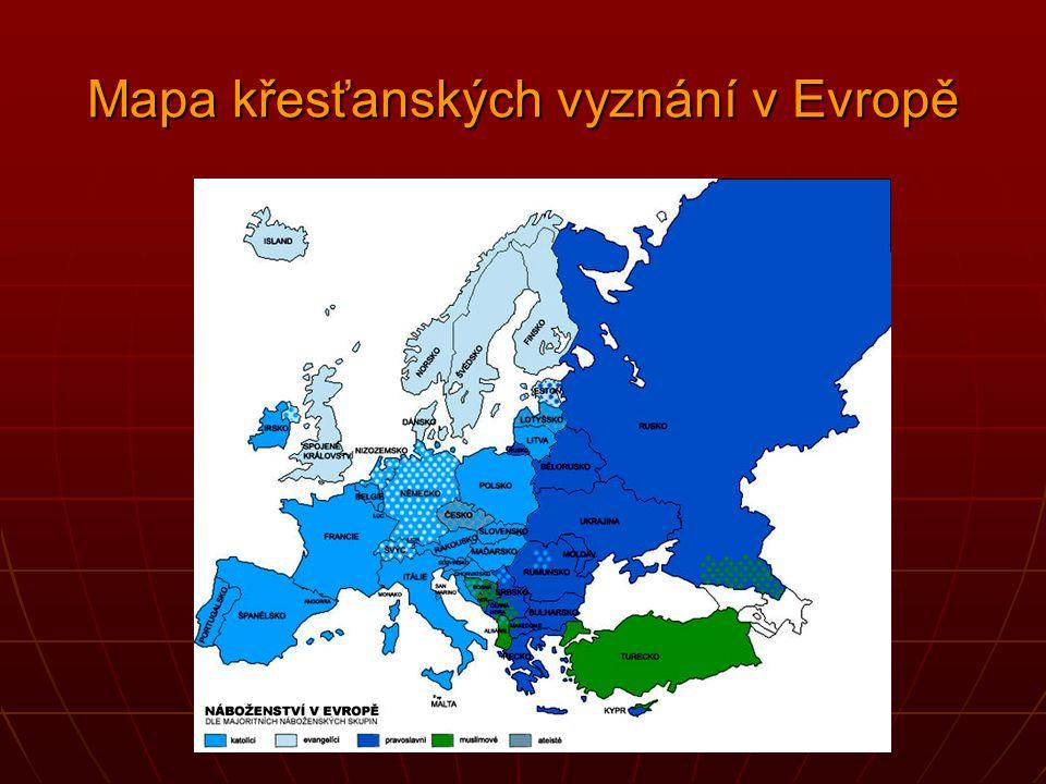 Mapa křesťanských vyznání v Evropě
