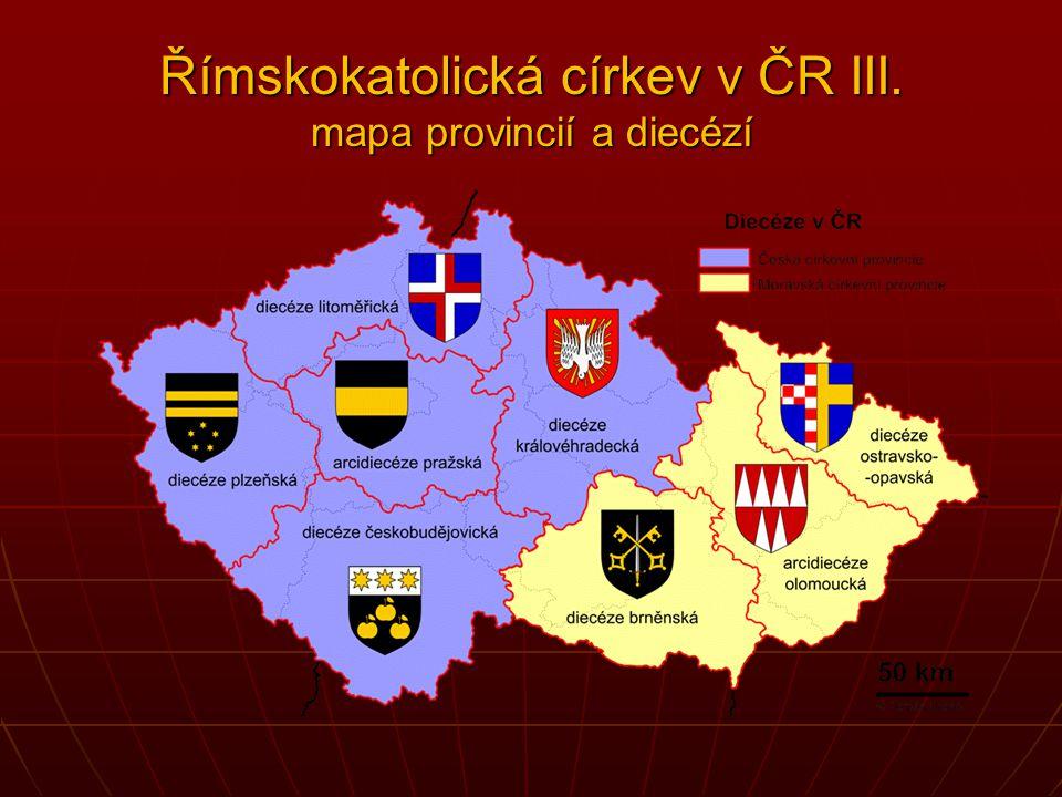 Římskokatolická církev v ČR III. mapa provincií a diecézí