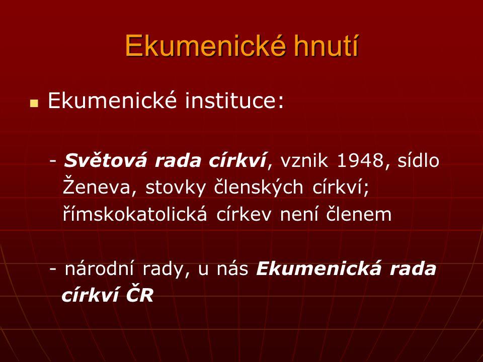 Ekumenické hnutí Ekumenické instituce: