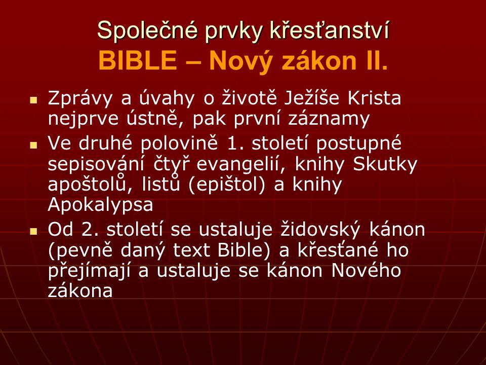 Společné prvky křesťanství BIBLE – Nový zákon II.