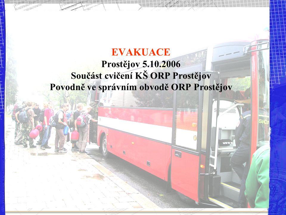 EVAKUACE Prostějov 5.10.2006 Součást cvičení KŠ ORP Prostějov