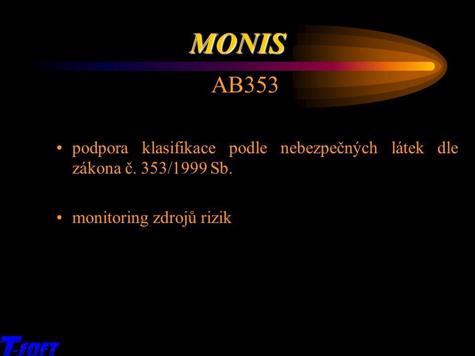MONIS AB353. podpora klasifikace podle nebezpečných látek dle zákona č. 353/1999 Sb. monitoring zdrojů rizik.