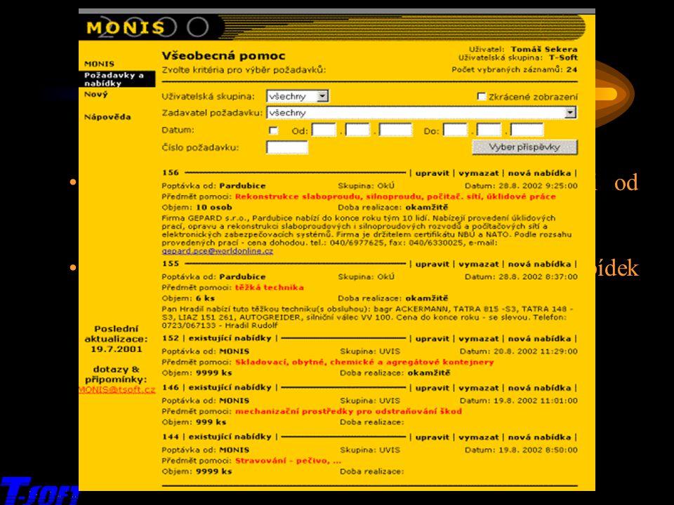 x MONIS 2003 – přehled služeb Všeobecná pomoc