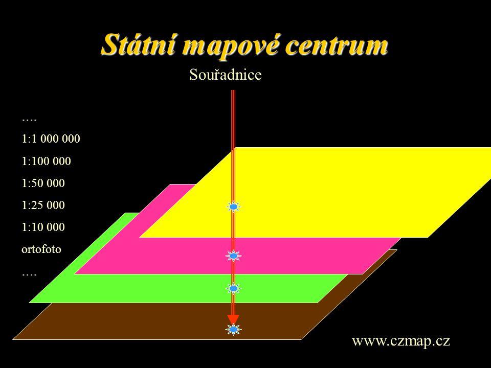 Státní mapové centrum Souřadnice www.czmap.cz …. 1:1 000 000 1:100 000