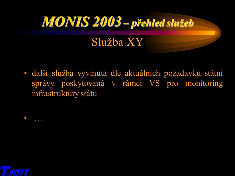 x MONIS 2003 – přehled služeb Služba XY