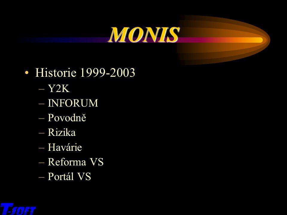 MONIS Historie 1999-2003 Y2K INFORUM Povodně Rizika Havárie Reforma VS