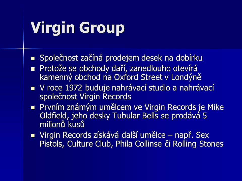 Virgin Group Společnost začíná prodejem desek na dobírku
