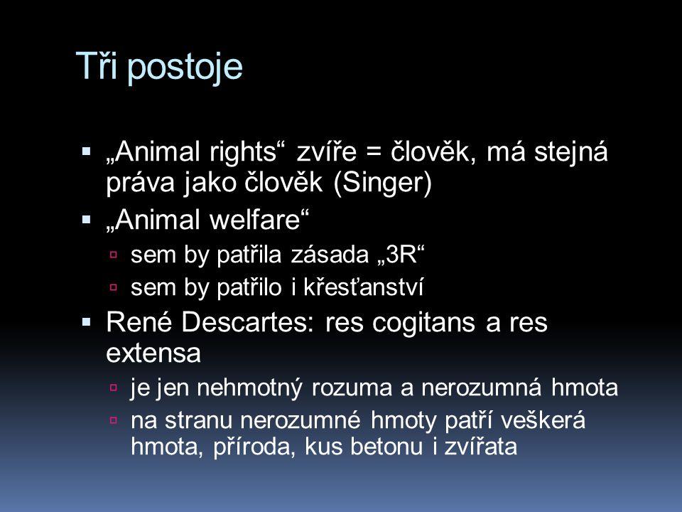 """Tři postoje """"Animal rights zvíře = člověk, má stejná práva jako člověk (Singer) """"Animal welfare"""