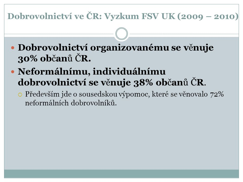 Dobrovolnictví ve ČR: Vyzkum FSV UK (2009 – 2010)
