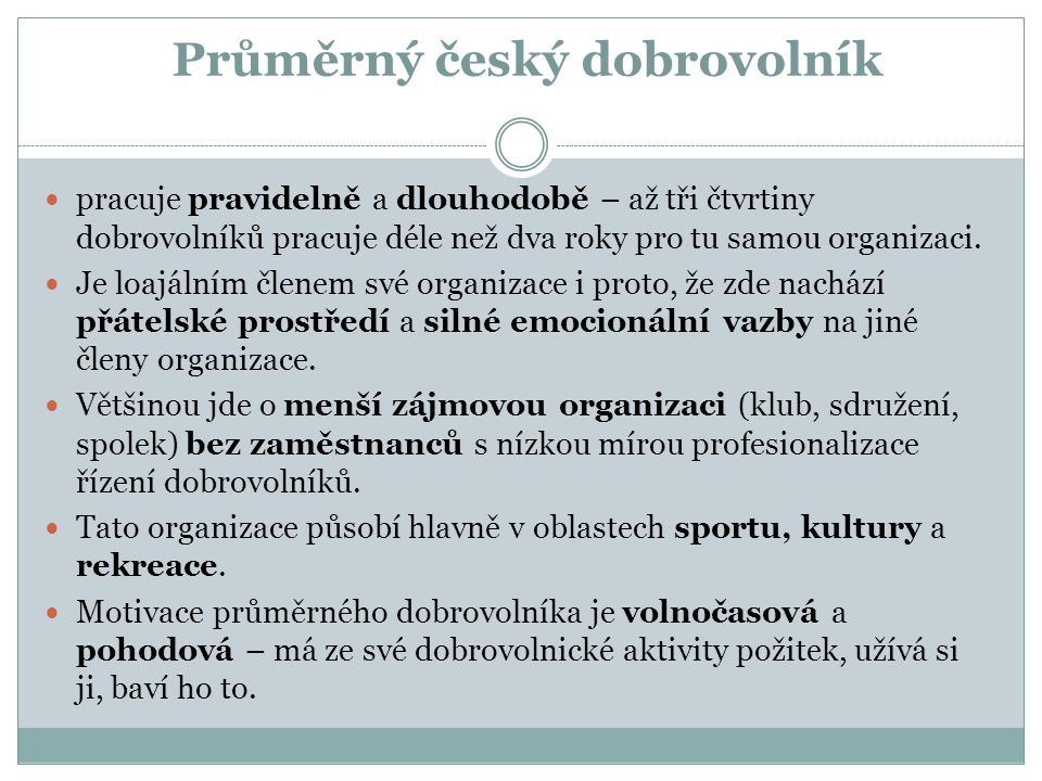 Průměrný český dobrovolník