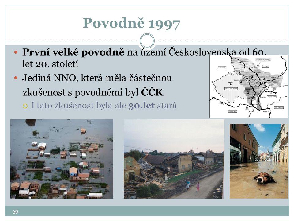 Povodně 1997 První velké povodně na území Československa od 60. let 20. století. Jediná NNO, která měla částečnou.