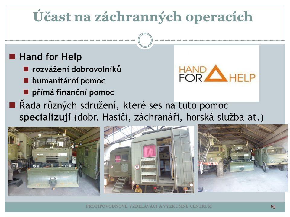 Účast na záchranných operacích