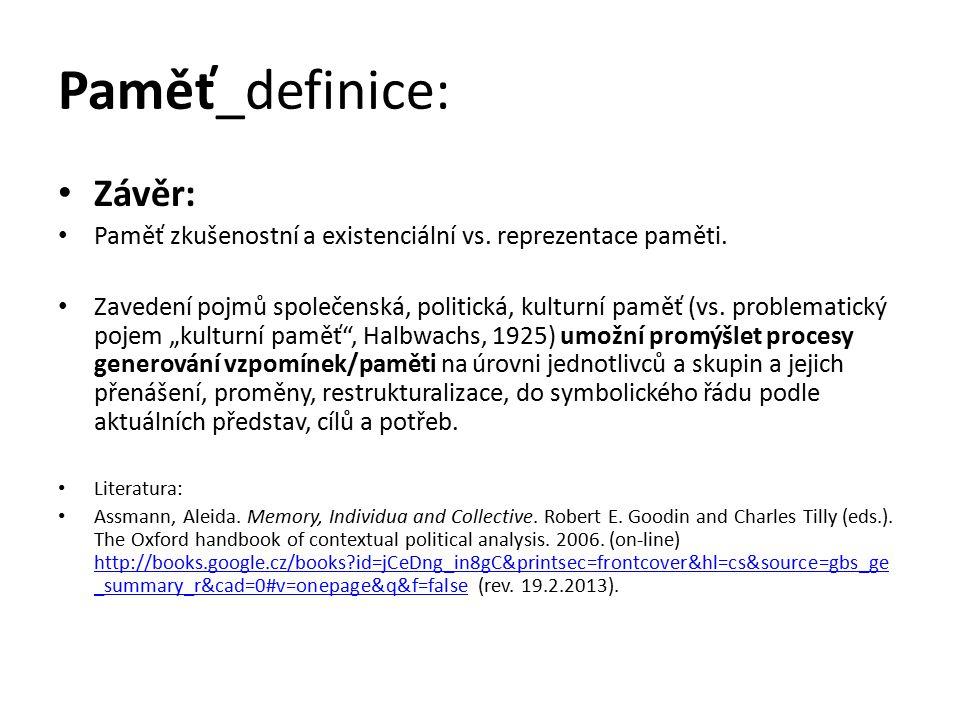 Paměť_definice: Závěr: