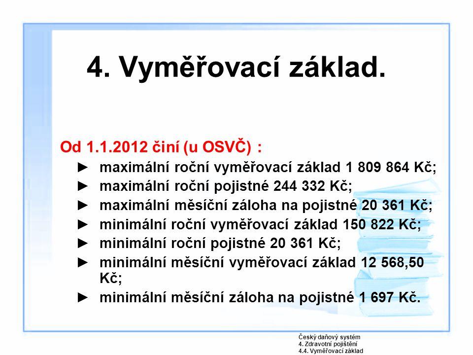 4. Vyměřovací základ. Od 1.1.2012 činí (u OSVČ) :