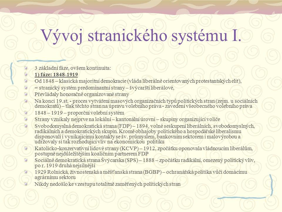 Vývoj stranického systému I.