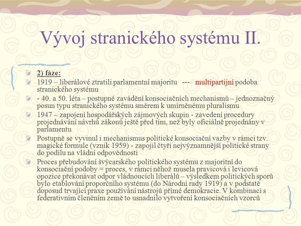 Vývoj stranického systému II.