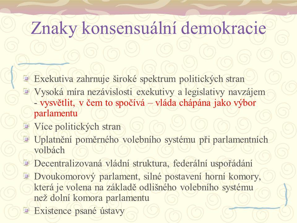 Znaky konsensuální demokracie