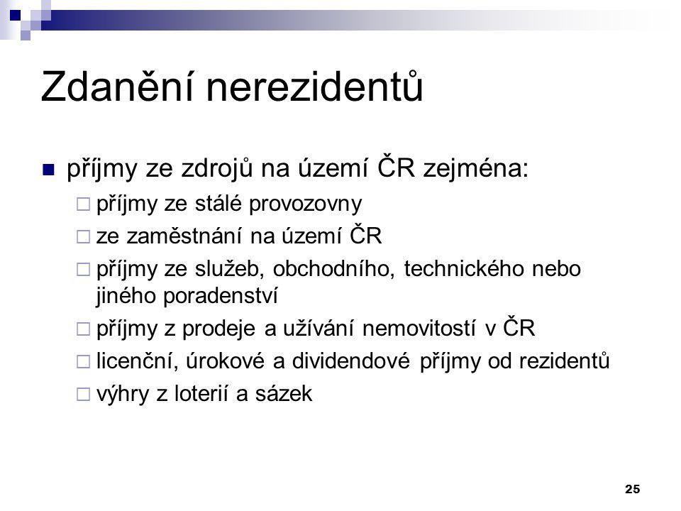 Zdanění nerezidentů příjmy ze zdrojů na území ČR zejména: