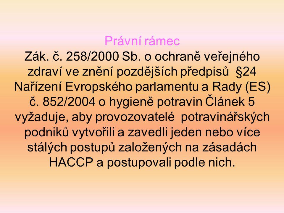 Právní rámec Zák. č. 258/2000 Sb. o ochraně veřejného zdraví ve znění pozdějších předpisů §24.