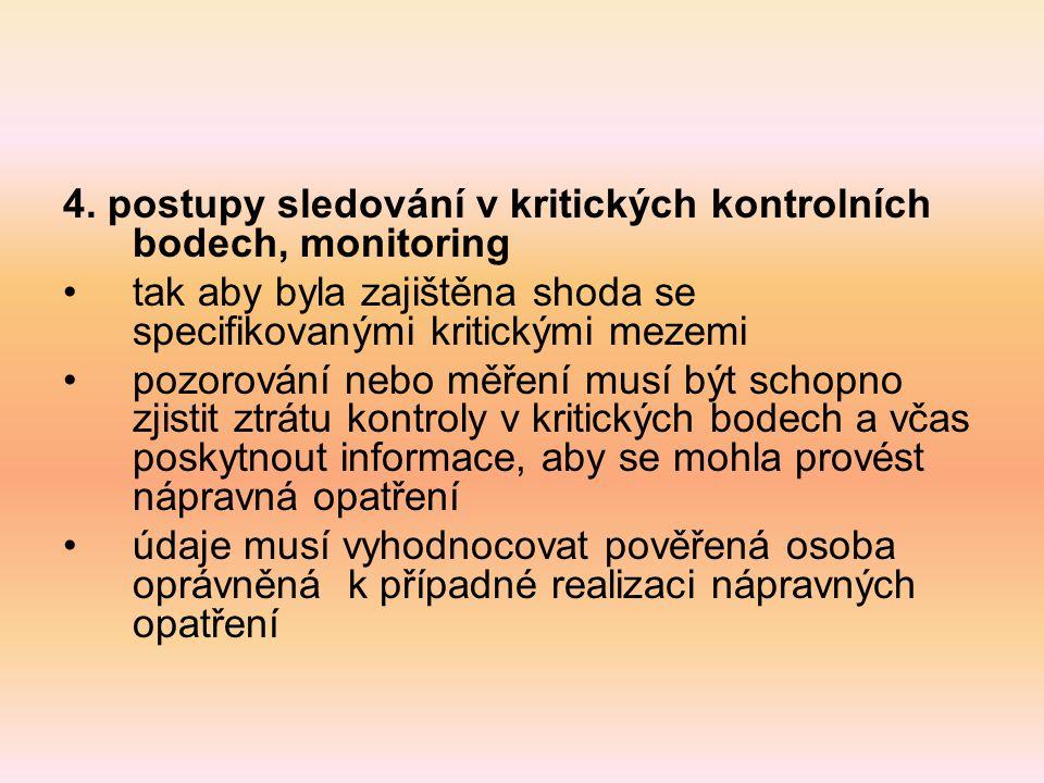 4. postupy sledování v kritických kontrolních bodech, monitoring