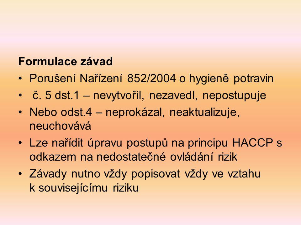 Formulace závad Porušení Nařízení 852/2004 o hygieně potravin. č. 5 dst.1 – nevytvořil, nezavedl, nepostupuje.