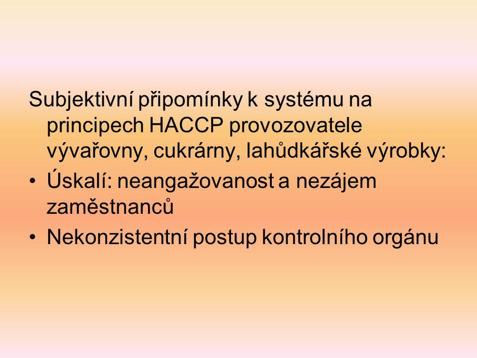 Subjektivní připomínky k systému na principech HACCP provozovatele vývařovny, cukrárny, lahůdkářské výrobky: