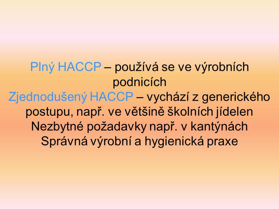 Plný HACCP – používá se ve výrobních podnicích