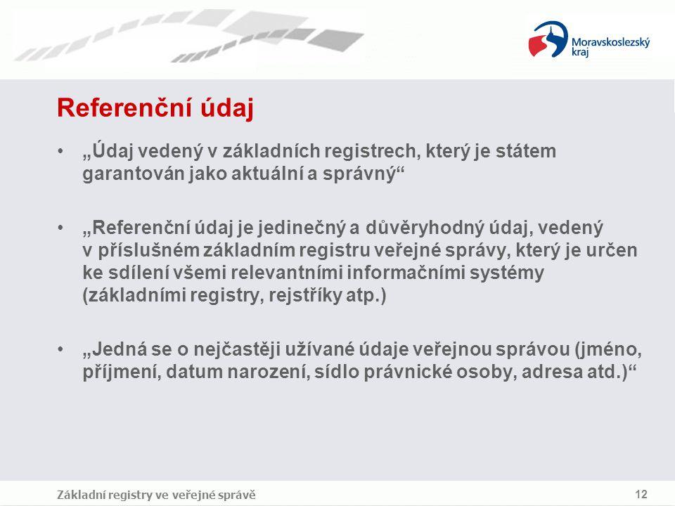 """Referenční údaj """"Údaj vedený v základních registrech, který je státem garantován jako aktuální a správný"""