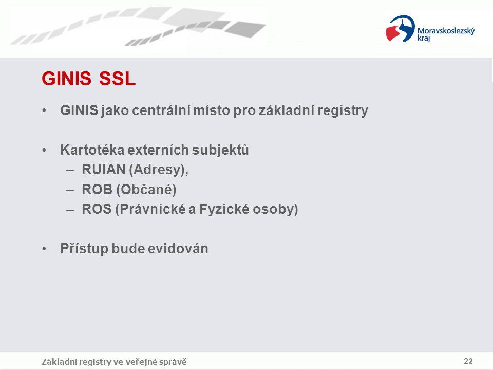 GINIS SSL GINIS jako centrální místo pro základní registry
