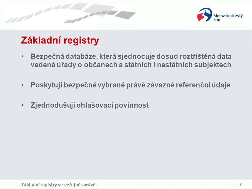 Základní registry Bezpečná databáze, která sjednocuje dosud roztříštěná data vedená úřady o občanech a státních i nestátních subjektech.