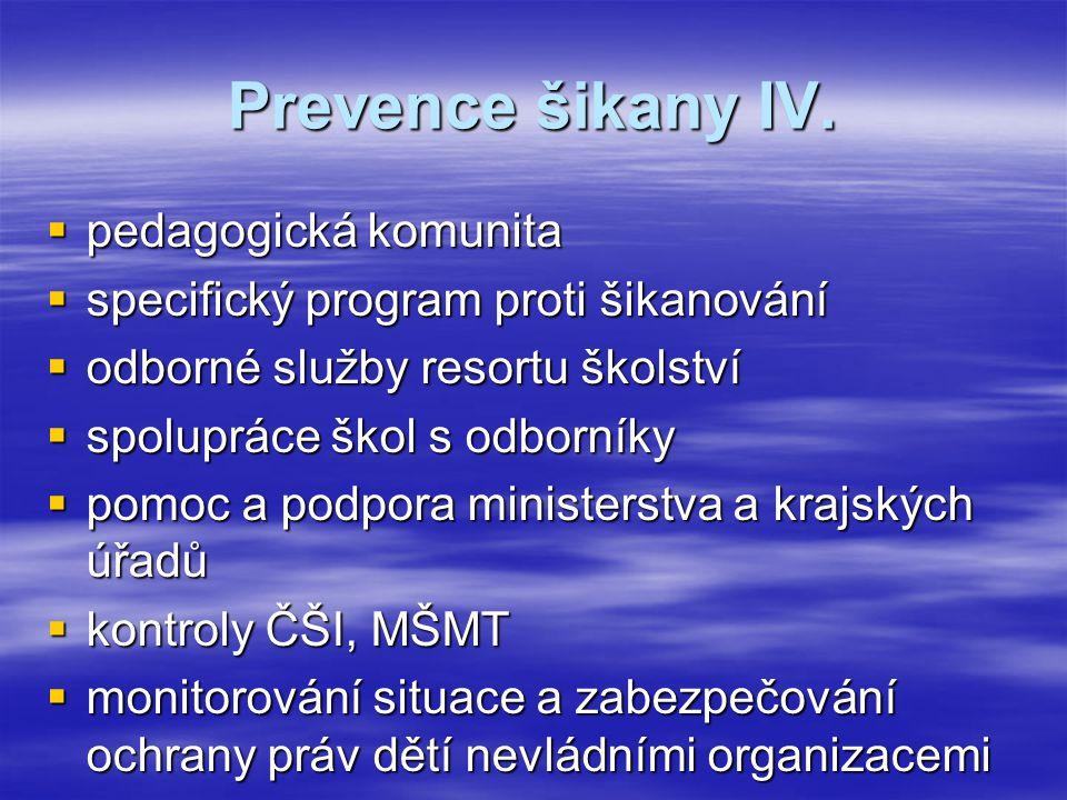 Prevence šikany IV. pedagogická komunita