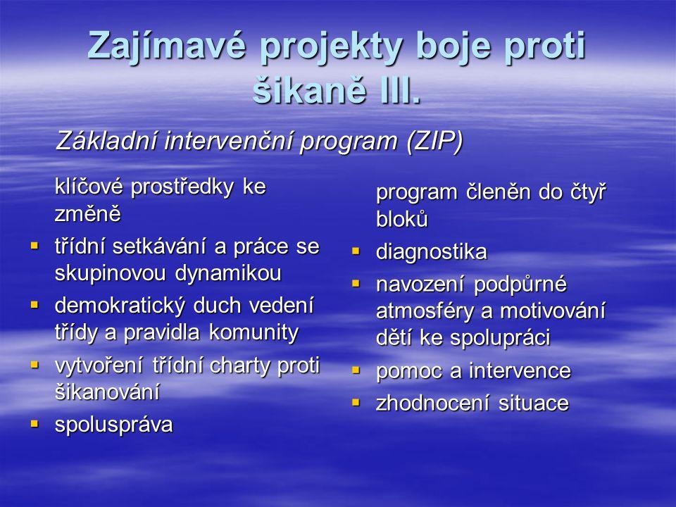 Zajímavé projekty boje proti šikaně III.