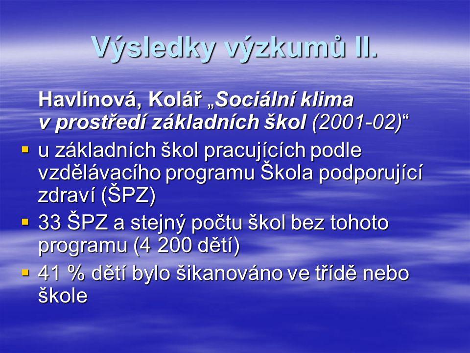"""Výsledky výzkumů II. Havlínová, Kolář """"Sociální klima v prostředí základních škol (2001-02)"""