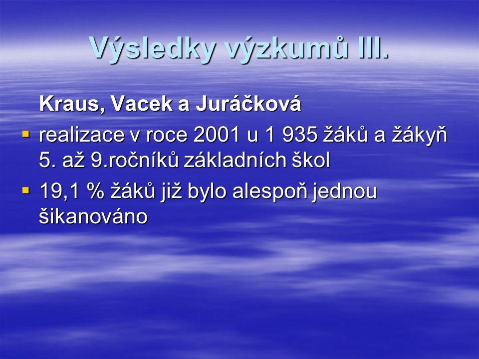 Výsledky výzkumů III. Kraus, Vacek a Juráčková