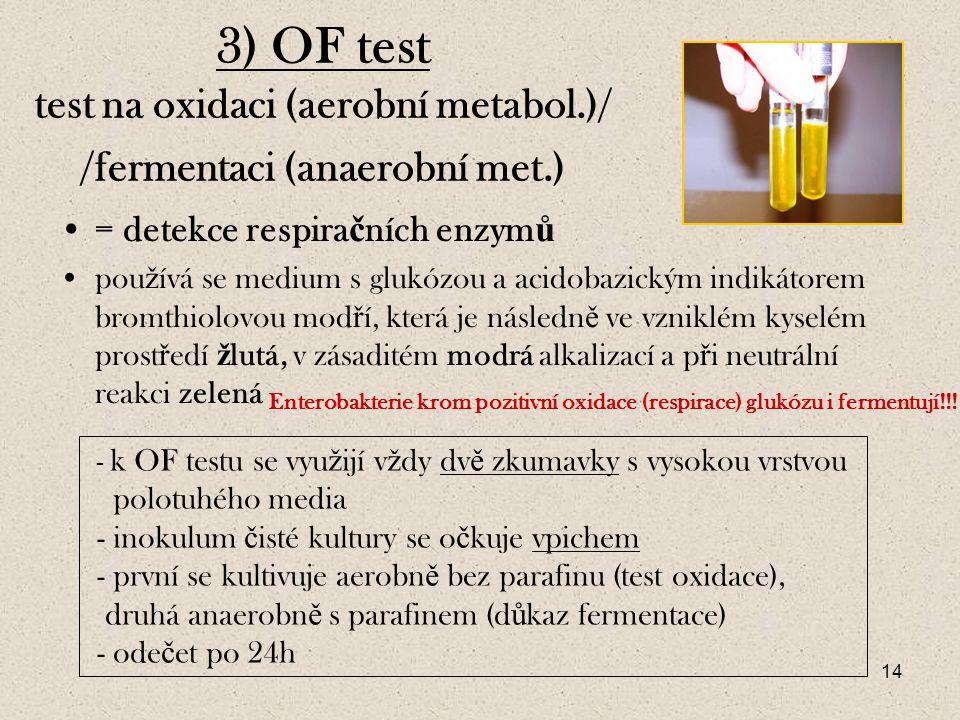 3) OF test test na oxidaci (aerobní metabol