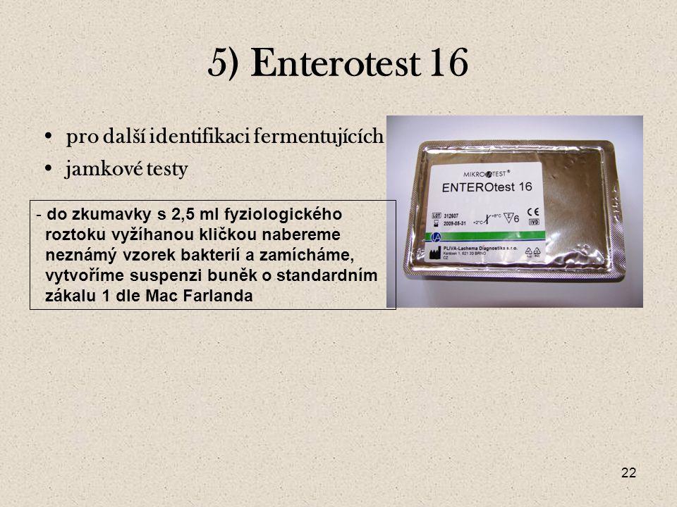 5) Enterotest 16 pro další identifikaci fermentujících jamkové testy