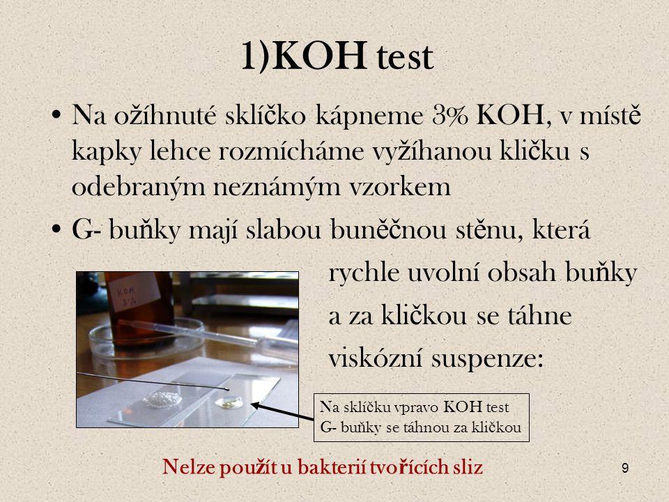 1)KOH test Na ožíhnuté sklíčko kápneme 3% KOH, v místě kapky lehce rozmícháme vyžíhanou kličku s odebraným neznámým vzorkem.