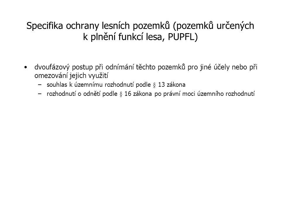Specifika ochrany lesních pozemků (pozemků určených k plnění funkcí lesa, PUPFL)