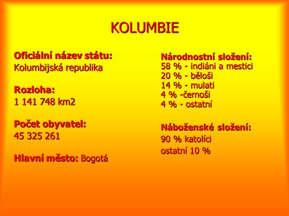 KOLUMBIE Oficiální název státu: Kolumbijská republika Rozloha: