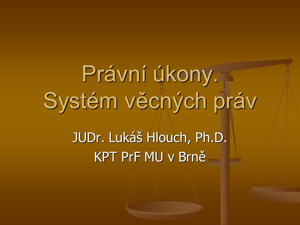 Právní úkony. Systém věcných práv