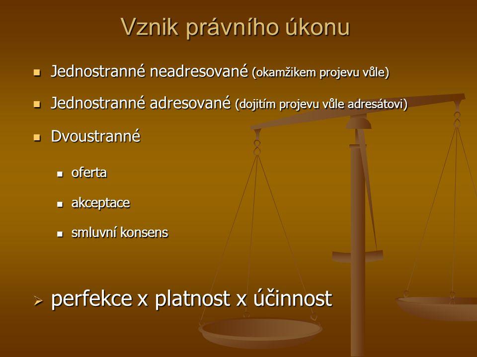 Vznik právního úkonu perfekce x platnost x účinnost