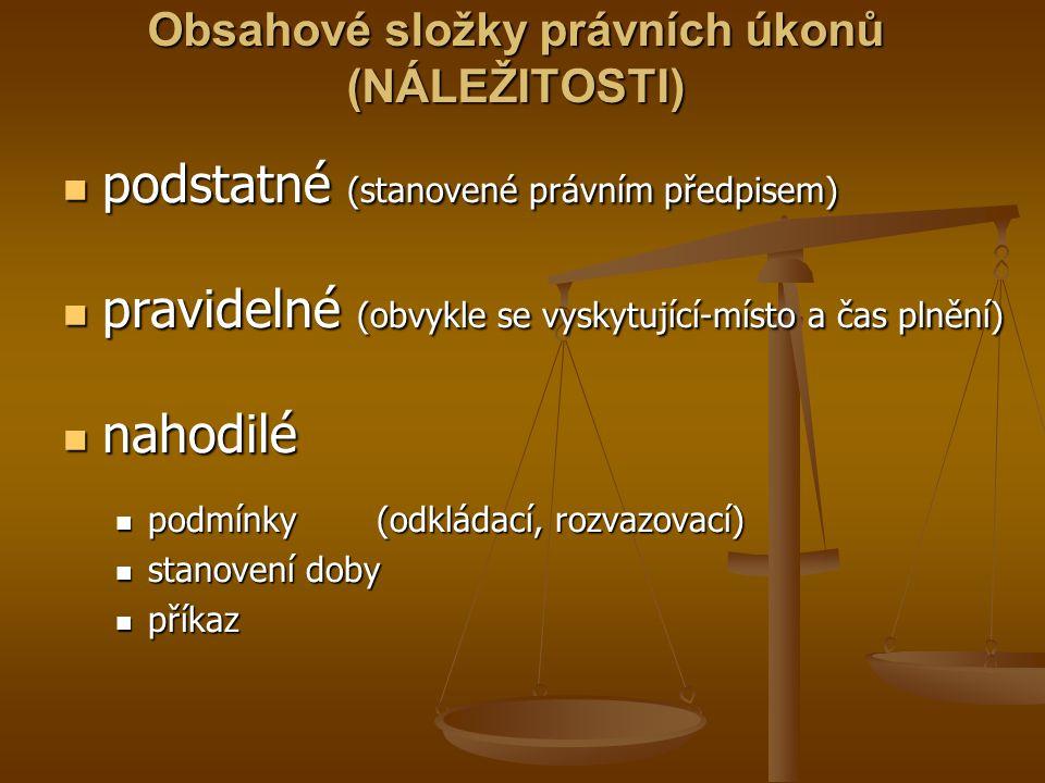 Obsahové složky právních úkonů (NÁLEŽITOSTI)