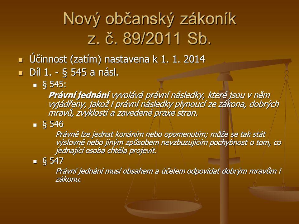 Nový občanský zákoník z. č. 89/2011 Sb.