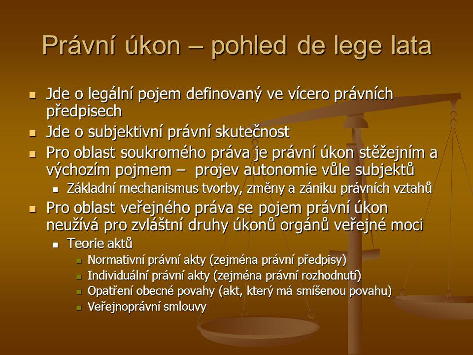 Právní úkon – pohled de lege lata