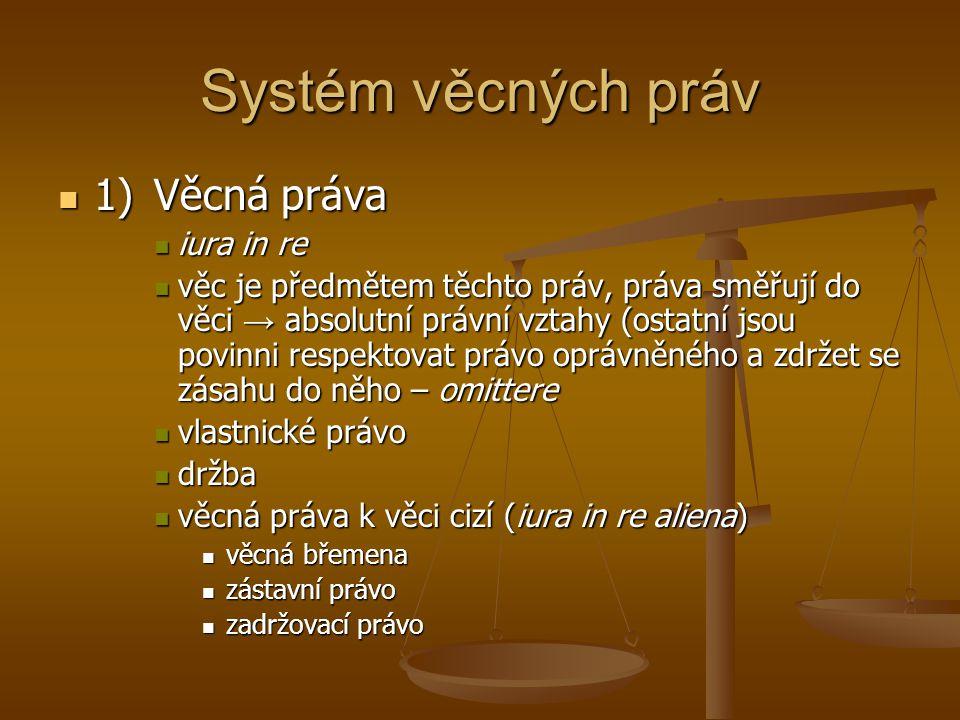 Systém věcných práv 1) Věcná práva iura in re